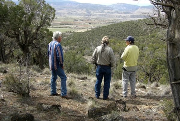 Joseph Colwell guiding hikers on trails at Colwell Cedars Retreat, with magnificent views.