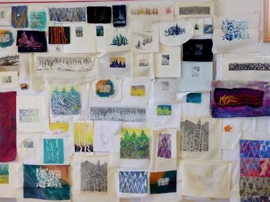Katherine Colwell's 100+ tree images many media, ready for creating her biggest 3-D embroidery.