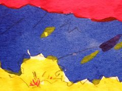 Yellow, blue, red watercolor plein air landscape. An example of Katherine Colwell's art class media.