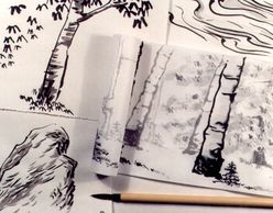 "Examples of personal ""Nature's Gifts"" sumi-e landscapes by Nature and Art Journey participant."