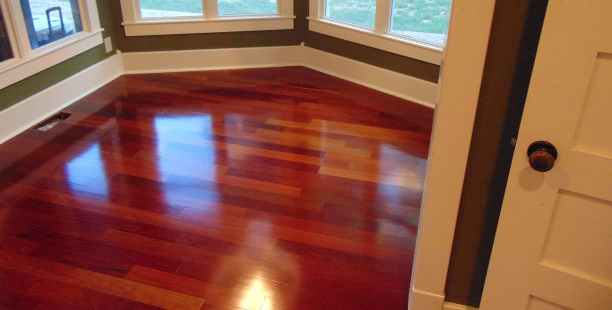Hard wood flooring in a dining area.