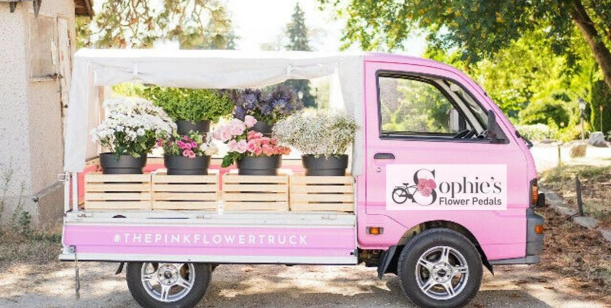 florist North Vancouver Flower Truck pink flower truck vancouver  floral van bus kei truck