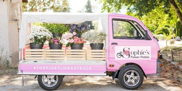 flower truck Vancouver the little pink flower truck car movie prop  flowers for film set decorators