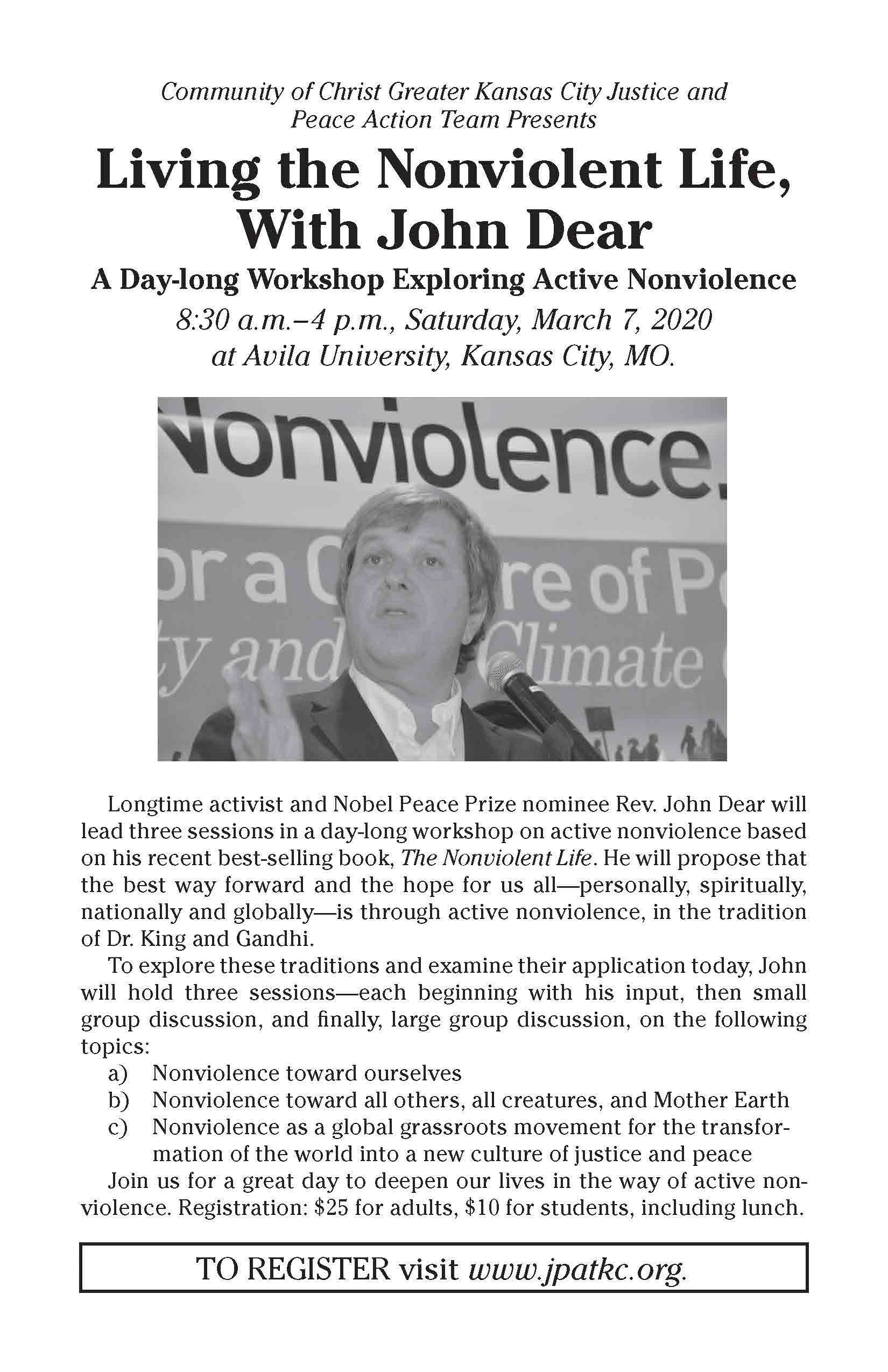 Flyer about John Dear Workshop on Active Nonviolence