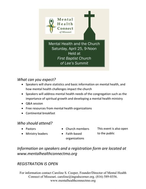 Flyer about Mental Health & the Church Event on April 25, 2020 from 9am-Noon