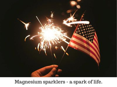 A person hand can be seen holding a brighlty lit sparkler and small U.S. flag, at nighttime.