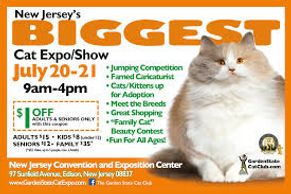 Saturday July 20 - Sunday July 21, 2019 9:00 am - 4:00 pm NJ's Biggest Cat Expo and Show NJ Conventi