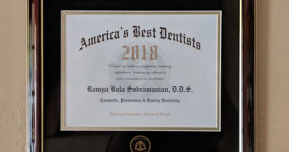 "Dr Bala was named as ""America's Best Dentists"" in 2018 for Cosmetic, Preventive and Family Dentistry"