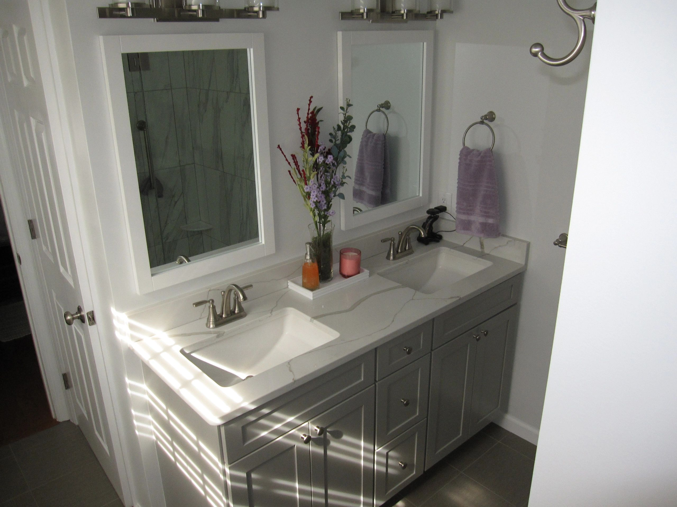 BATHROOM REMODELING  CURB LESS SHOWER RECESSED NICHE COUNTER TOP VANITY  DAUPHIN CUMBERLAND YORK CO