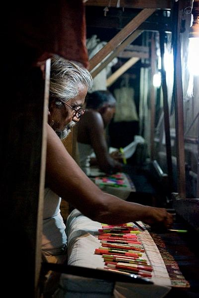 Banares silk, Indian weaver on a loom