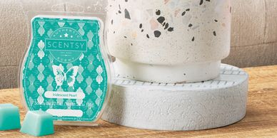 Scentsy Bar Iridescent Pearl Terrazzo Scentsy Warmer teal wax candle wickless