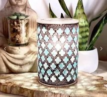 Buddha Marrakesh Scentsy warmer blue mosaic wood base