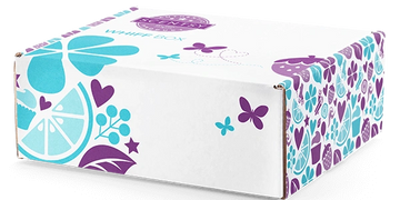 scentsy whiff box surprise subscription box with teal and purple butterflies and flowers