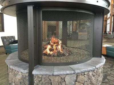 Outdoor wood burning fireplace in Redmond, OR.