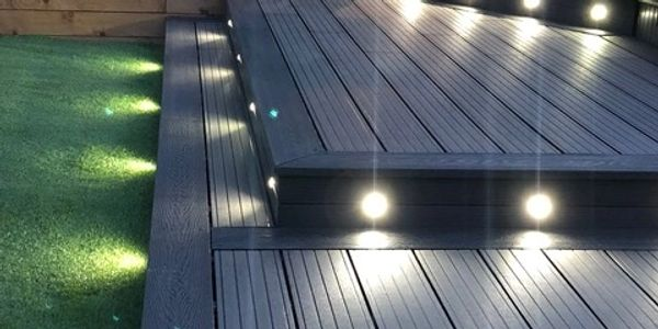 Composite Decking Boards with inset lights