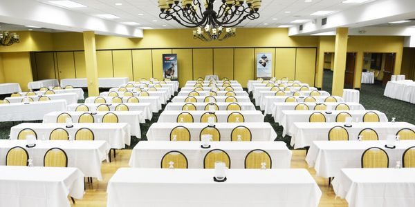 Conference space set up for large meeting