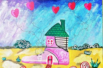 Love Strings Painting on Canvas Board. 20 x 16 inches.