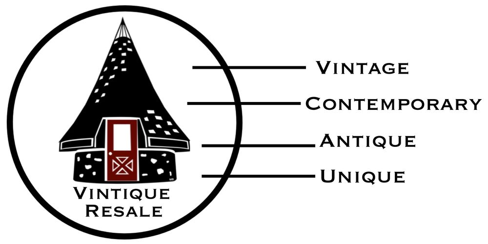 Vintique Resale Logo; Vintage, Contemporary, Antique, Unique.