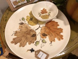 Vintage fall leaves bowl and plate set.