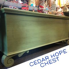 Antique cedar hope chest.