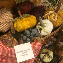 Handmade cloth pumpkins.
