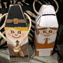 Handpainted pilgrim buoy pair.