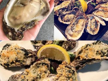 Collage of 2 different baked oyster dishes and freshly shucked raw oyster.