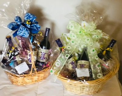 Mother's Day wine baskets 3 sizes small medium and large each with piece hand fused glass and wine