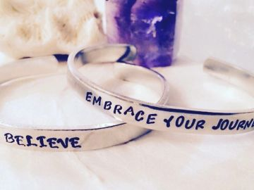 Motivation inspiration jewelry custom hand stamped journey bracelet cuff