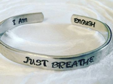 Inspiration motivation custom jewelry cuff bracelet I am enough