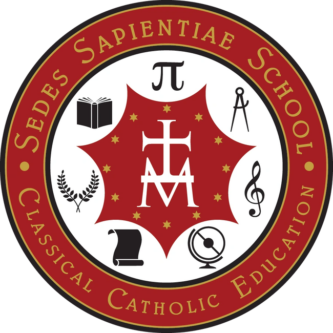 Sedes Sapientiae School Emblem - Our Lady Seat of Wisdom is at the core of the classical liberal art