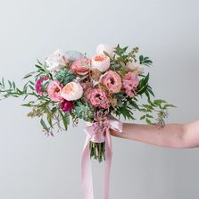 romantic garden wedding bouquet blush, pink and peach organically styled by Yarmouth Maine Florist