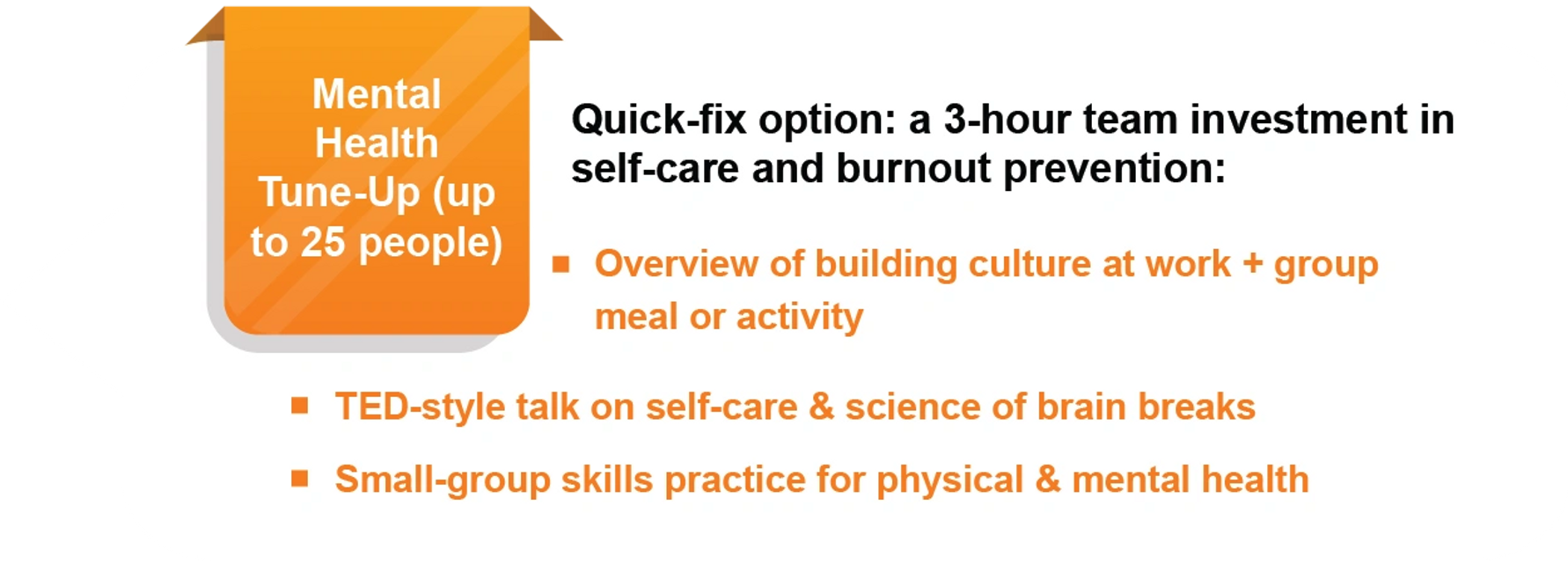 "Description of ""mental health tune-up"" for groups at work"