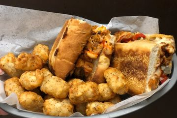 Award Winning Philly Cheese Steak Sandwich and Baked Tater Tots