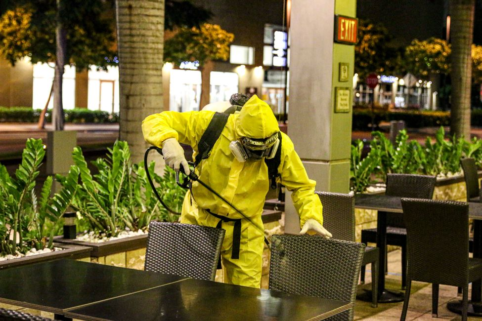 Disinfecting restaurant seating