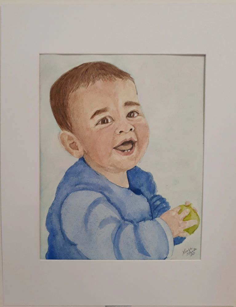 watercolor portrait of a boy with a ball