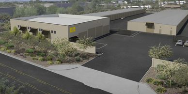 a rendering of the new repair shop and indoor storage in phoenix