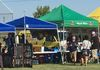 Vendors with food to sample and things to buy