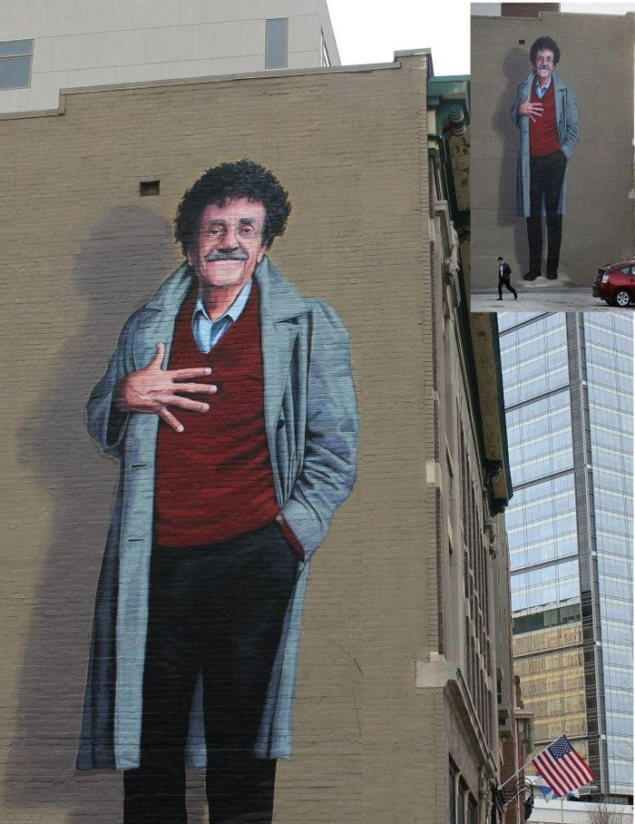 Kurt Vonnegut Mural, 38 ft. tall, by Pamela Bliss in Indianapolis, IN
