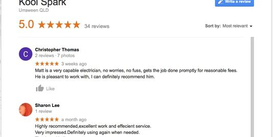 Photo of google review page for google my business reviews for Kool Spark account