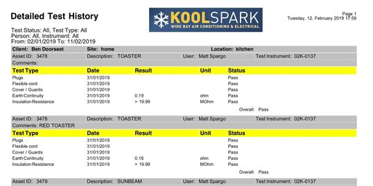 test and tag reporting, portable appliance testing reports