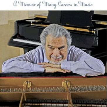 Cover of a pianist's memoir showing him leaning on piano