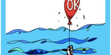 cartoon of hand holding balloon above the waves
