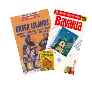 Covers of travel guidebooks