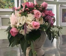 Mother's Day Flowers delivered.  Pink Roses, Veronica and blooms galore.