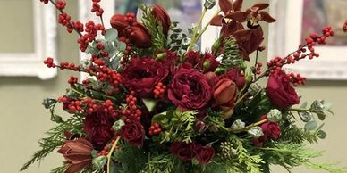 Red Garden Roses and Standard Roses, Red Amaryllis, and Burgundy Orchids. Bouquet.