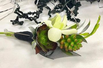 Orchid and Succulent boutonniere. Orchid Boutonniere. Love N' Bloom Flower Shop ~ Huntington Beach