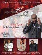 Official Flyer for Apostle. William R. Harrell Jr.  4️⃣0️⃣Years of Ministry Celebration