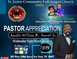 Tonight March 20th 2019 - 7:30 PM at St. James Community Full Gospel Church, Harlem USA join us as w