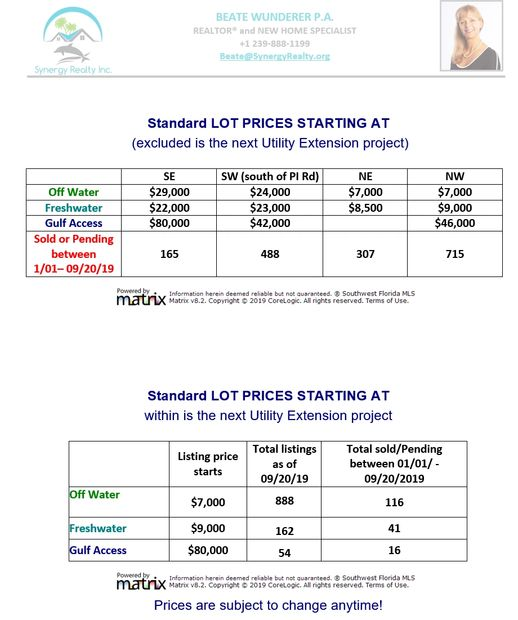 Lots in Cape Coral are very affordable. Prices starting at $7,000 for 10,000 Sq. Ft.